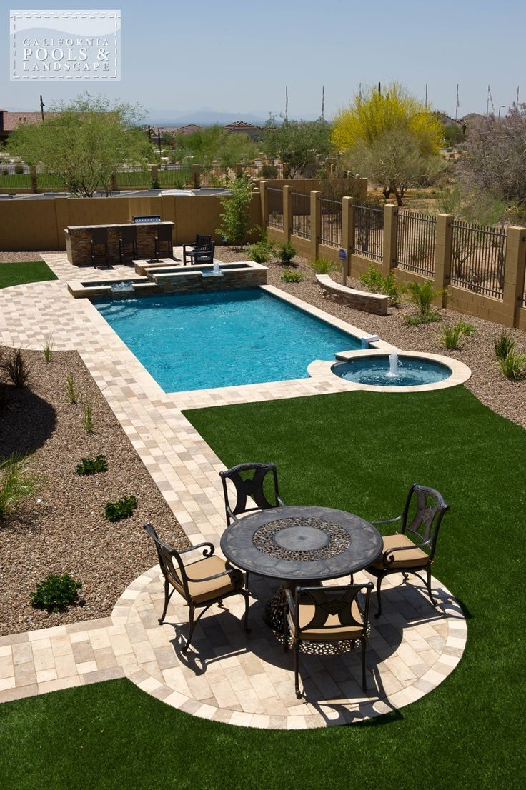Landscaping Modern Pool 120044 1 Backyard Pool Landscaping Large Backyard Landscaping Desert Landscaping Backyard