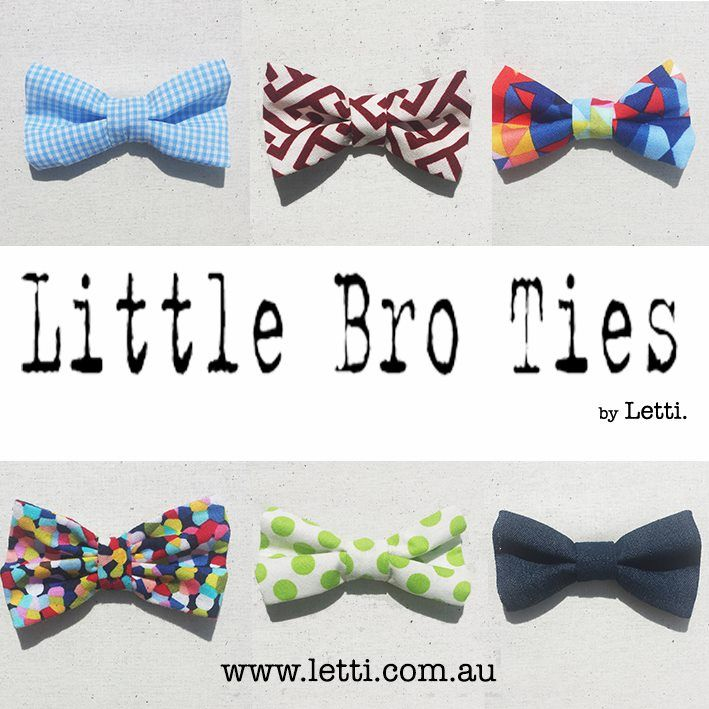 Little Bro Ties by Letti.  Little Bro Ties is a MAGNETIC Bow tie. Which means ANY Outfit - ANY Occasion!  It is EASY as 1 2 3! 1. Simply choose a super cute Little Bro Tie 2. Slip the backing behind your shirt 3. Place Little Bro Tie on the front of your Shirt. DONE!  Time to get FRESH Boys!