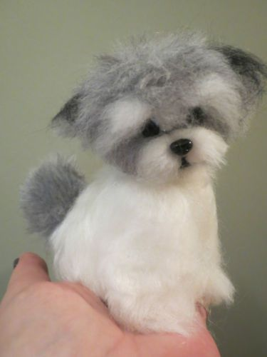 Ooak needle felted artist handmade Havanese puppy dog wool sculpture