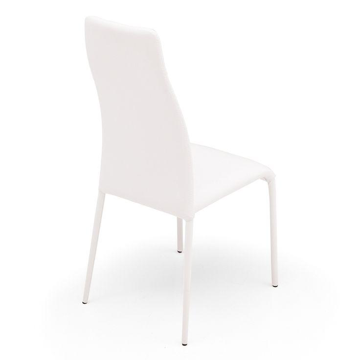 € 99,00 #sconto 50% #sedia #moderna di #design SWING 1H, schienale alto e sinuoso, completamente rivestita in tessuto, pelle o ecopelle di colore #bianco. Adatta ad #arredare la #sala da pranzo. 100% #MadeinItaly. In #offerta prezzo su #chairsoutlet factory #store #arredamento. Comprala adesso su www.chairsoutlet.com