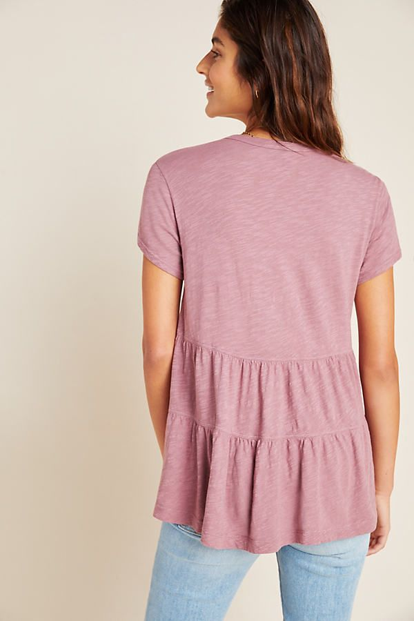Marika Babydoll Tee by Left Of Center in Purple Size: L, Women's Tees at Anthropologie 3