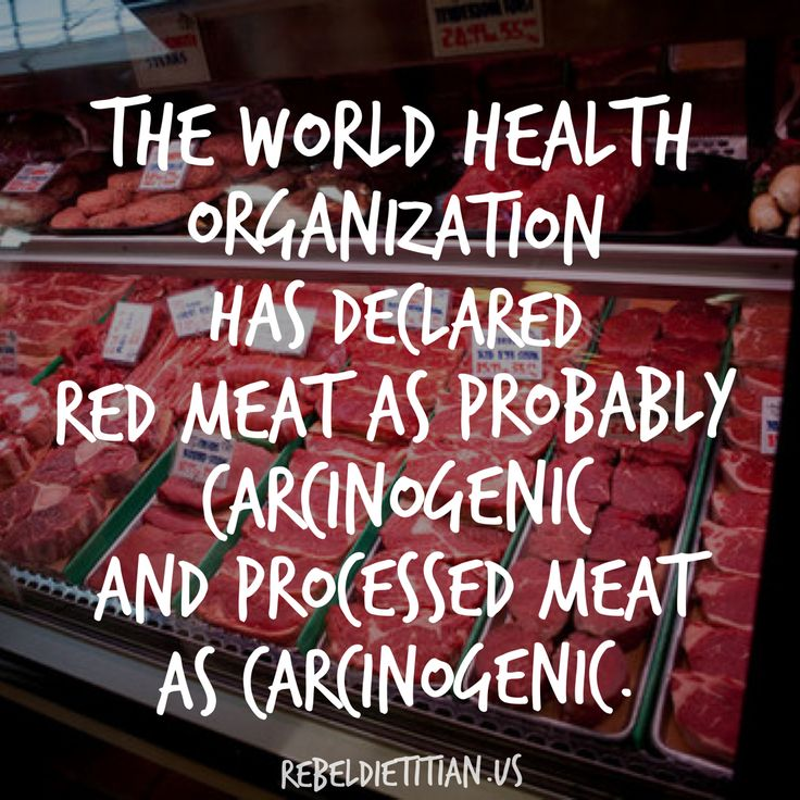 #BigNews: The World Health Organization (WHO) has declared processed meat carcinogenic and red meat probably carcinogenic. Examples of processed meat include bacon, hamburger meat, prepackaged sandwich meat,  sausage, hot dogs, meat used in frozen meals, chicken nuggets, etc. Red meat = beef, pork, lamb, bison, and wild game. As always, I'll share my reference below. Big hugs! xo, Dana :))