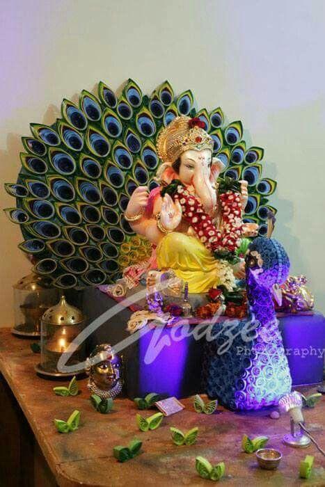 Ganesh Decoration Quilling Peacock Pooja Decore Ideas