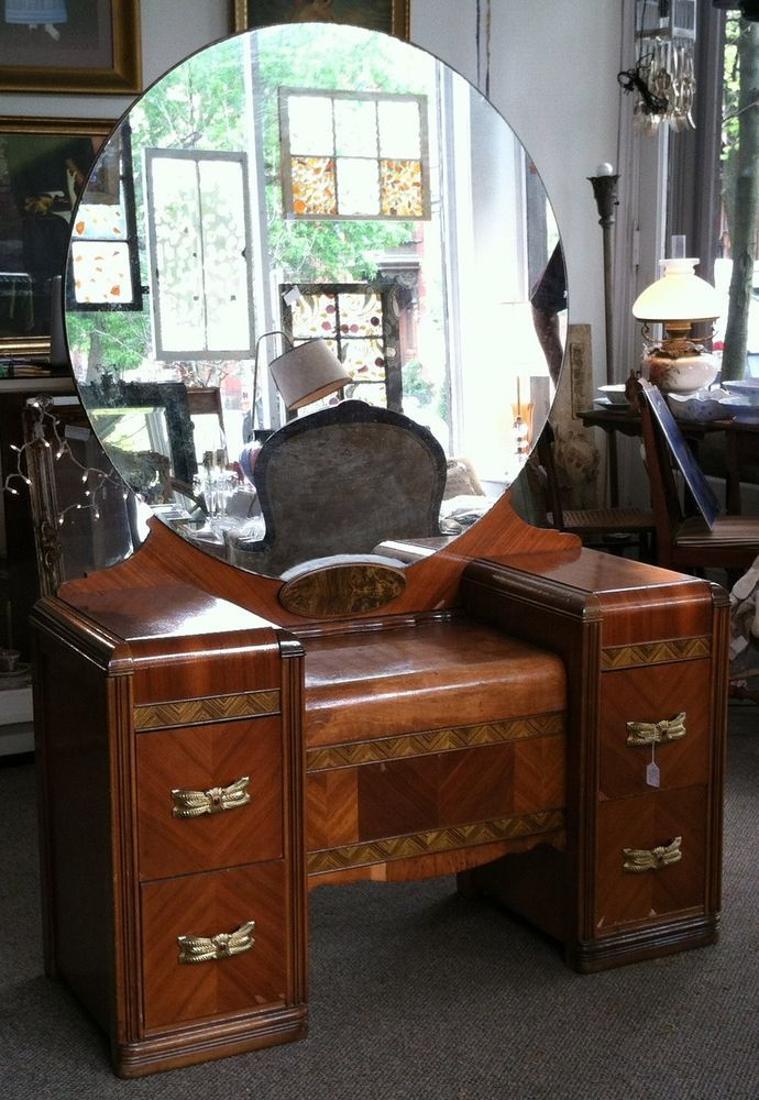 1930-1940's Art Deco Wood Inlay Vanity Dressing Table with ...