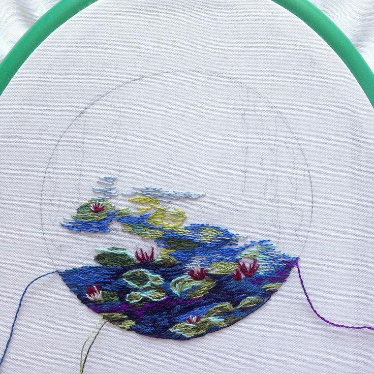 «В процессе/in progress #вышивка #хобби #своимируками #ручнаяработа #мулине #Моне #кувшинки #embroidery #embroideryart #hoop #hoopart #hobby #handmade…»
