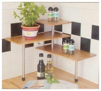 etagere d'angle bambou tablette d'epices cuisine ou plantes
