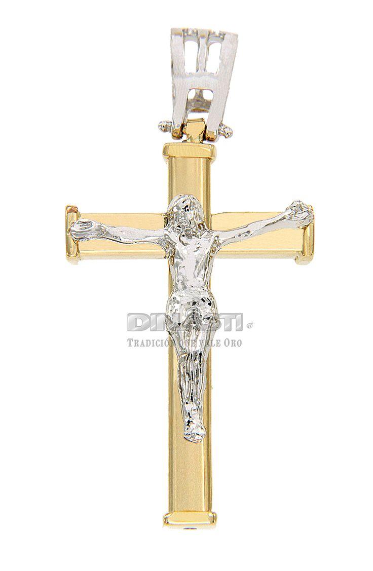 SKU CRSOR0020 CRUZ MACISA COMBINADA DE ORO PULIDO Y CRISTO EN ORO BLANCO ventas@dinasti.com #ReligiousCharm #fashion #jewelry #Cristosdeoro #cristos #cruces #articulosreligiosos #dijesreligiosos
