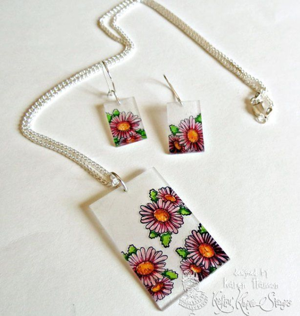 Flowers-set-1 Shrinky Dink jewelry | Jewelry Making | Pinterest