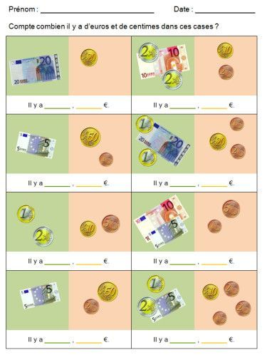 Maths : Plein d'exercices pour travailler avec la monnaie ...