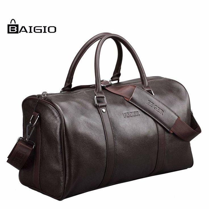 Baigio Men Travel Bag Genuine Leather Large Capacity Luggage Waterproof http://mobwizard.com/product/baigio-men-travel/