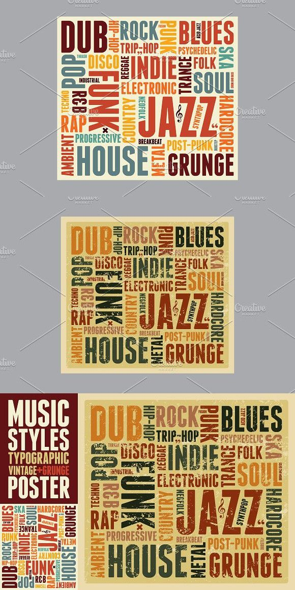Music Styles Typographic Poster Vecteur