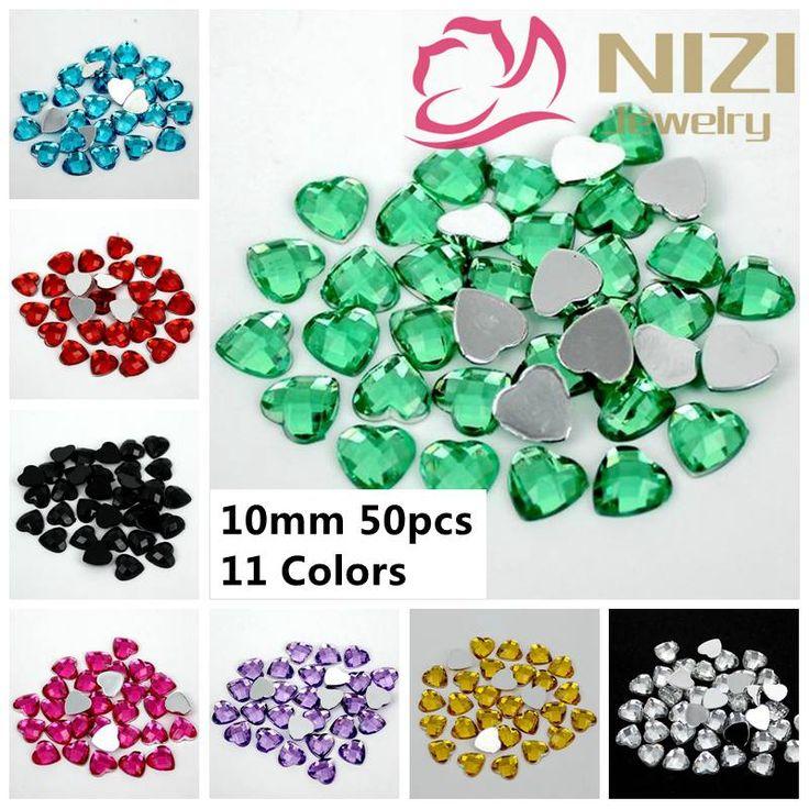 10mm 50pcs Many Colors Acrylic Rhinestones Flatback Heart Earth Facets Crafts Scrapbooking Glue On Stones DIY Backpack Garments