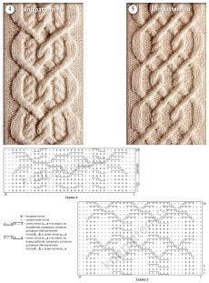 Образцы рельефных полос со сложным перекрещиванием со схемами для вязания на спицах. Страница 142. - 9 Января 2016 - Узоры спицами