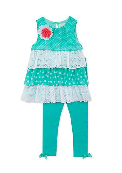 Rare Editions 2-Piece Chiffon and Eyelet Tiered Top and Legging Set Toddler Girls