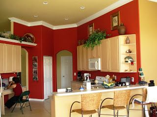 Red Accent Wall In Kitchen