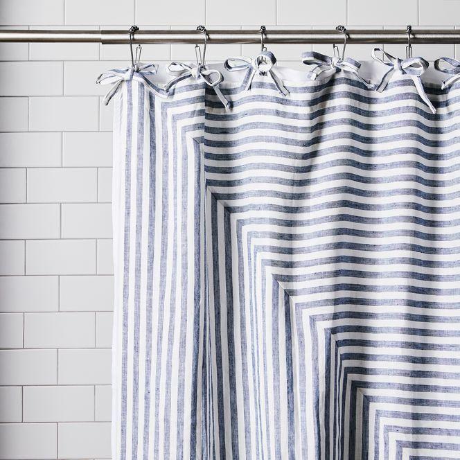 Diangonal Stripey Tie Top Linen Bath Curtain Striped Shower
