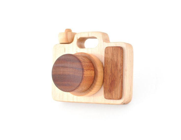 Wooden Toy Camera - Eco-friendly Imagination Toy - Pretend Play for a Baby, Toddler, or a Preschooler.