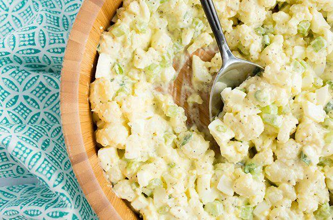 Skinny Mom Low Carb Cauliflower Potato Salad recipe