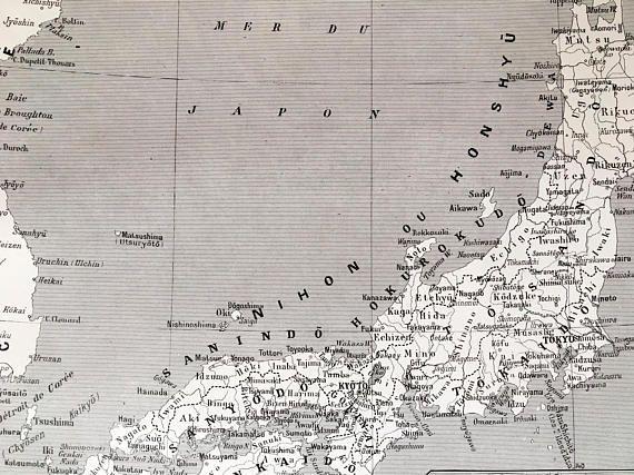1915.JAPÓN.Mapa de regiones y provincias-Lámina en blanco y