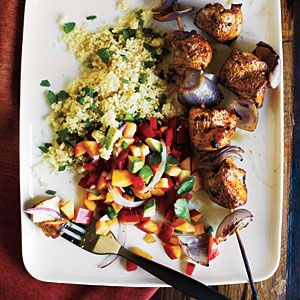 Chicken kabobs with nectarine salsa - one of my all time favorite recipes!  From Cooking Light