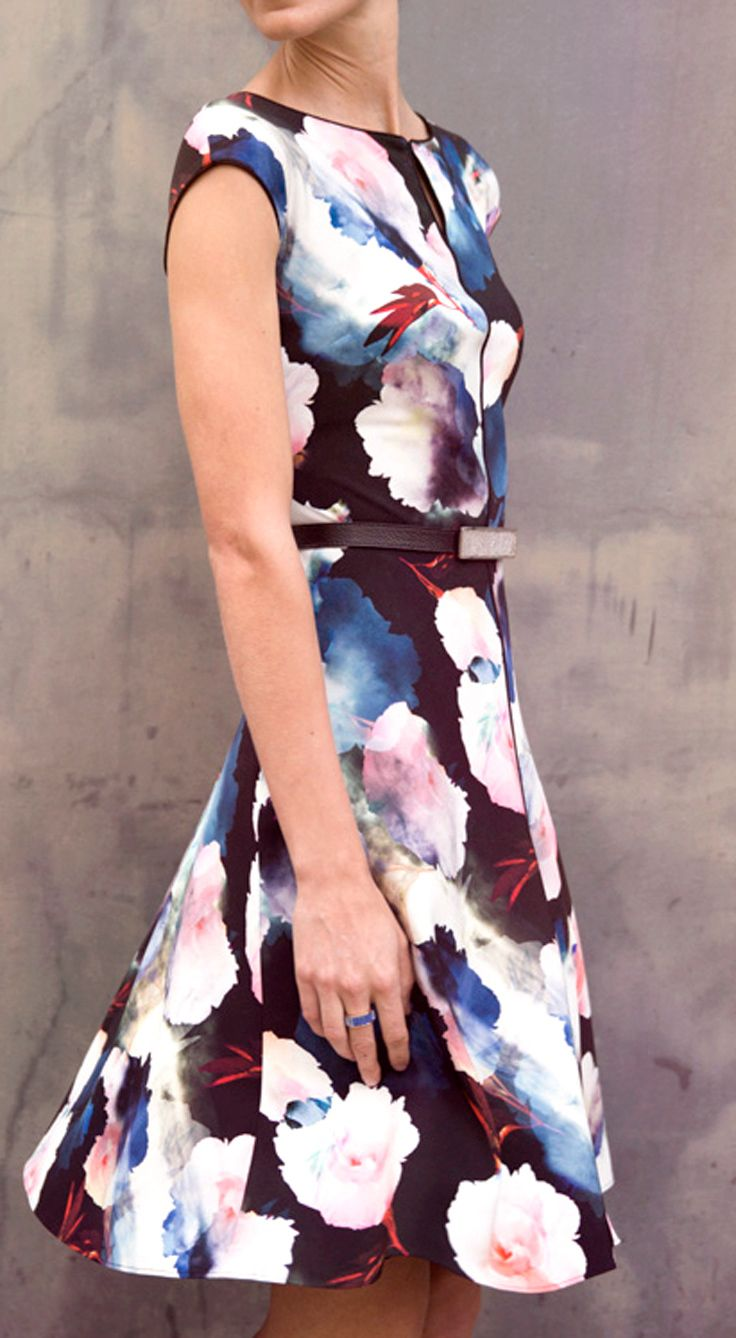 Fall in love with a StJohnKnits rose print silk dress from our PreFall 2015 Collection. watercolor spring fashion | StJohnKnits.com