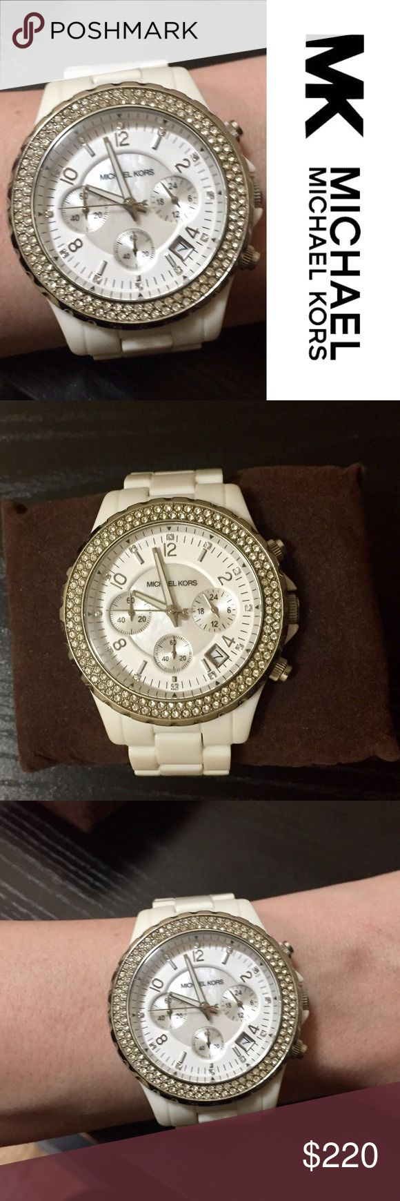 Gorgeous Michael Kors Watch White Michael Kors watch in practically perfect condition. 2 rows of Swarovski crystals around the outside of the face, plus 12 Swarovski crystals and mother of pearl on the face. The only flaws on this watch are a some small scratches on the clasp. Face and band are in perfect condition. Comes with box, manual and extra links/pins. Does need the battery replaced. Michael Kors Accessories Watches