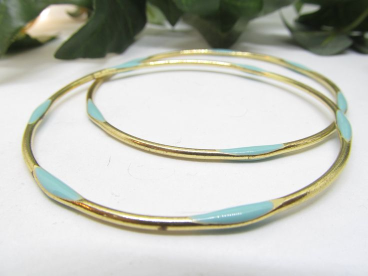 Set Of 2  Vintage Gold tone and Teal Enamel Bangle Bracelets  Featuring Gold tone Base and Teal Enamel Accents Vintage Bracelets