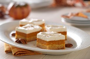 Maple-Pumpkin Pie Bars Recipe - Kraft Recipes... Give them layer upon layer of yumminess.