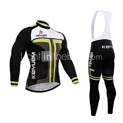 KEIYUEM® Maillot et Cuissard Long à Bretelles de Cyclisme Homme Manches longues VéloEtanche / Respirable / Séchage rapide / Pare-vent / - CHF ₣46.16
