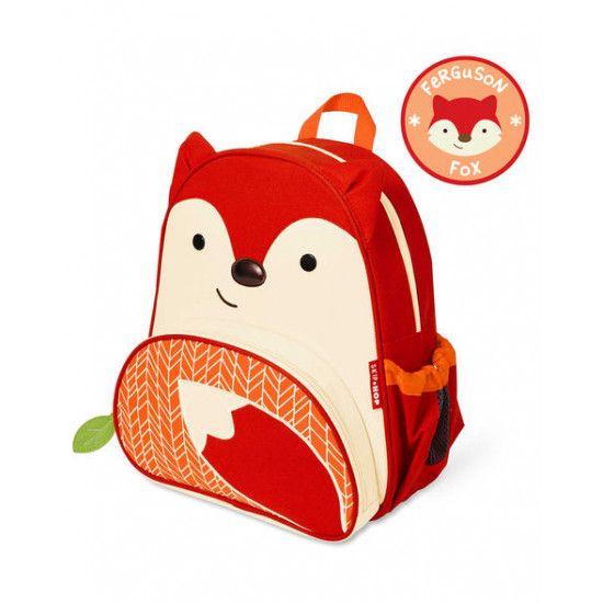 3 ans et +. Le sac à dos animal parfait pour tout le monde! La poche latérale en maille s'ajuste pour s'adapter à une boîte à jus, à une sirop ou à une bouteille d'eau. La poche avant est idéale pour les collations et comprend des poches supplémentaires pour crayons et autres nécessités de voyage. Des bretelles rembourrées confortables vont facilement sur les petites épaules! Marque d'écriture à l'intérieur et doublure facile à nettoyer #bag #sac #enfant #fox #renard #toys #montreal #ojeux