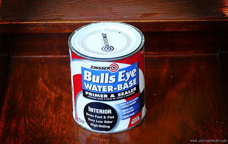 no_sand_primer-  So how do you paint furniture without sanding it? Easy. You need a no-sand primer. I use Zinser Bulls Eye Primer and Sealer. I like the water base version because it's easy to use, has very little odor and the clean up is a breeze. This stuff is pretty awesome because it sticks to just about any surface without sanding, it dries quickly and is easy to paint over.