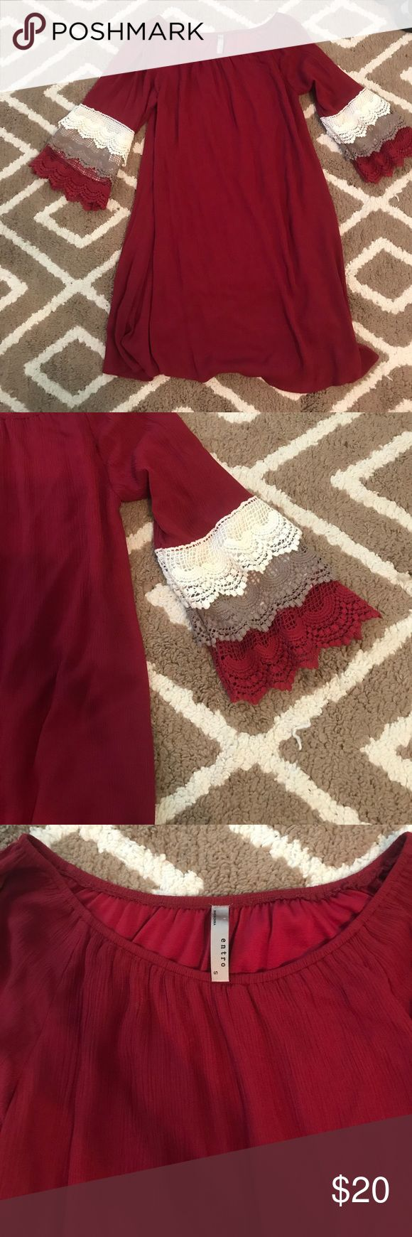 Dark red dress Cute and fun dark red dress! Excellent condition and extremely comfortable. This dress is also lined. Size small Dresses