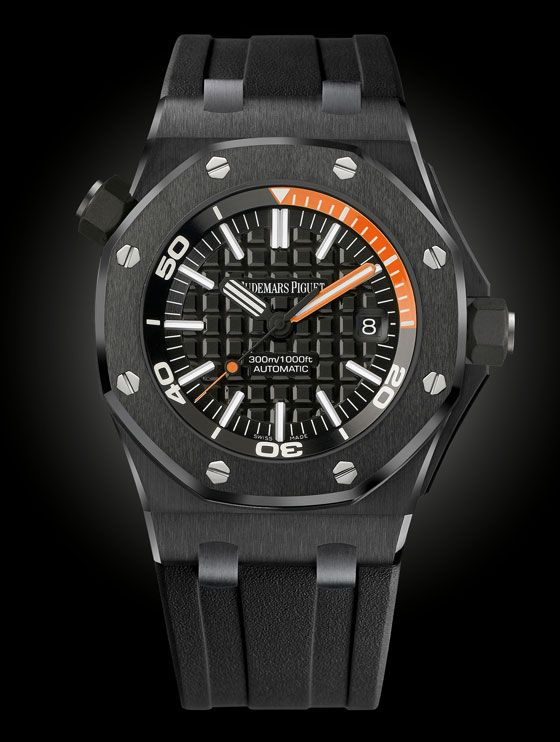 www.watchtime.com   blog    Blackout: 10 New Black on Black Watches    Audemars Piguet ROO Diver black $21,800