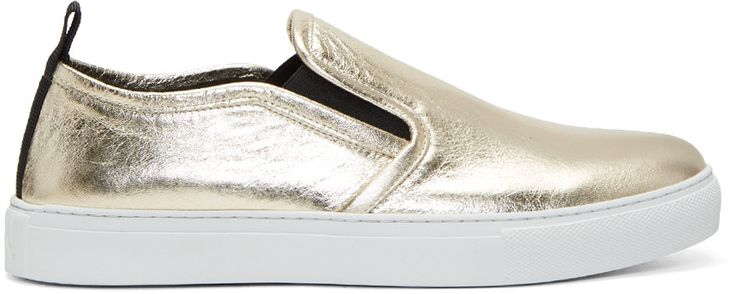Maison Margiela Gold Metallic Chris Slip-On Sneakers N2i4Ic