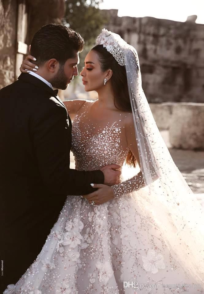 98c640ec6e472d Luxuriours A Line Royal Wedding Dresses Dubai Saudi Arabic Modest Long  Sleeves Bling Sequins Beaded Appliqued Formal Church Bridal Gowns