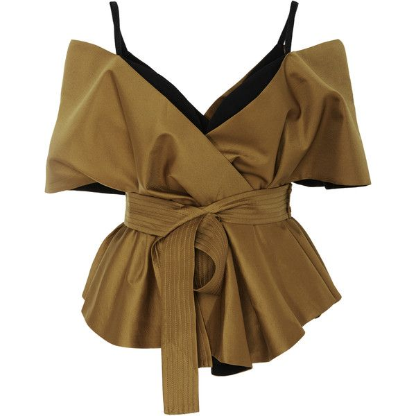 Acler Fyffe Bodice Top (£200) ❤ liked on Polyvore featuring tops, blouses, neutral, bralette tops, bralet tops, brown top, off shoulder tops and off the shoulder tops