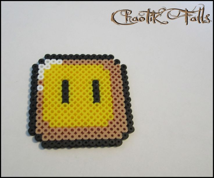 Pixel Art Mario Item Coin Block Perler Beads. $3.00, via Etsy.