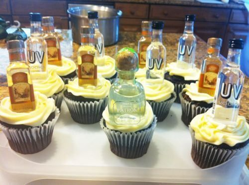 Cupcakes adorned with mini liquor bottles