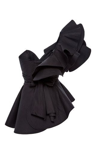 María De Mèdici Asymmetrical Peplum Top by JOHANNA ORTIZ for Preorder on Moda Operandi