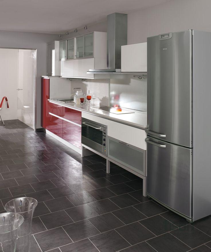 cocina moderna glass rojo
