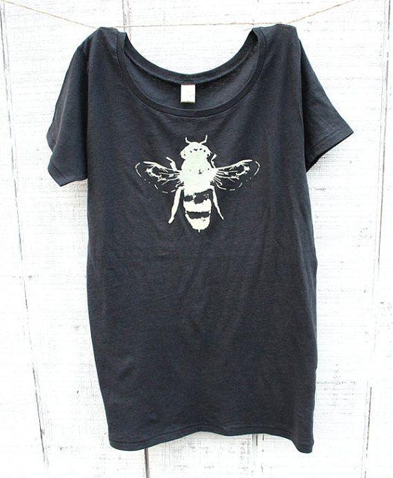 Womens Honey Bee T-shirt - Women - Alternative Apparel - Organic ladies shirt - Small, Medium, Large, XL - Clothing - Spring - Animal on Etsy, $25.00