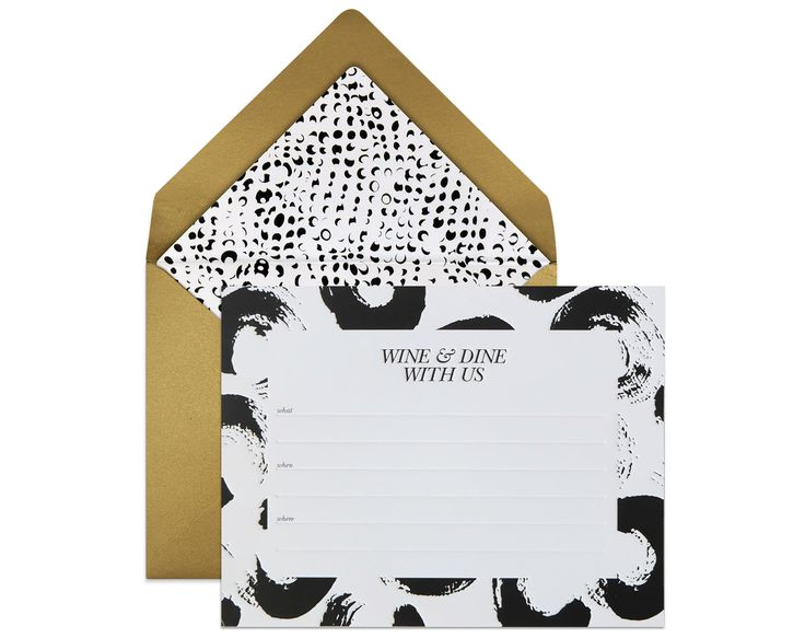 FILL-IN INVITES   Wine and Dine Invite Set.  Playing hostess? show guests your stylish taste with this stunning invites that you can easily fill-in with computer and print with home inkjet printers / commission a calligrapher to write the details for you. x  #diy #invites #printable