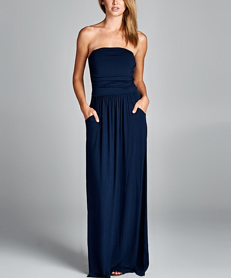 Take a look at this Love, Kuza Navy Pocket Strapless Maxi Dress - Plus today!
