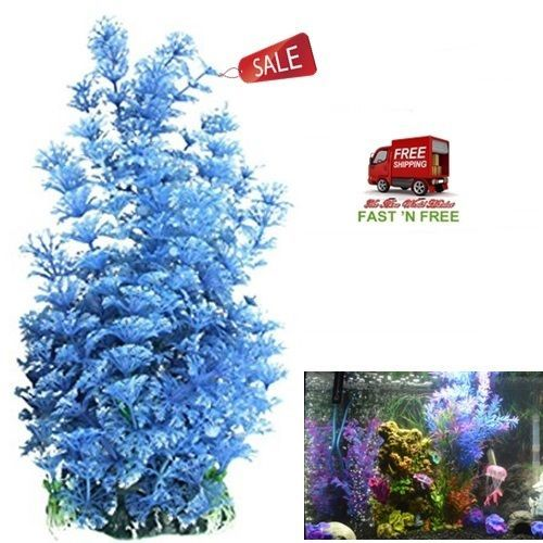 Aquarium Plant Grass Decorative Blue White Long Leaf Plastic Fish Tank Ornament…