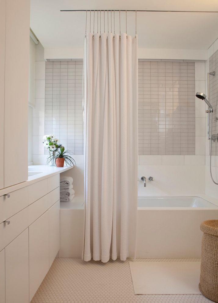 Double Curtain Rod Brackets for Contemporary Bathroom and Bathtub