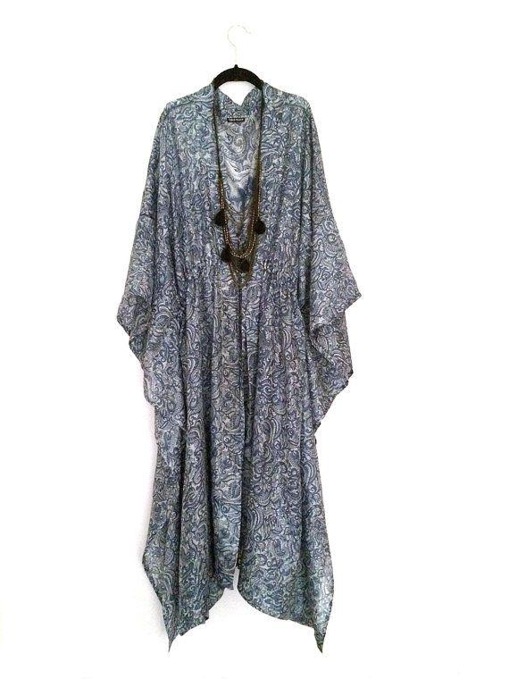 Silk kaftan/ beach cover up / kimono jacket grey and blue ...