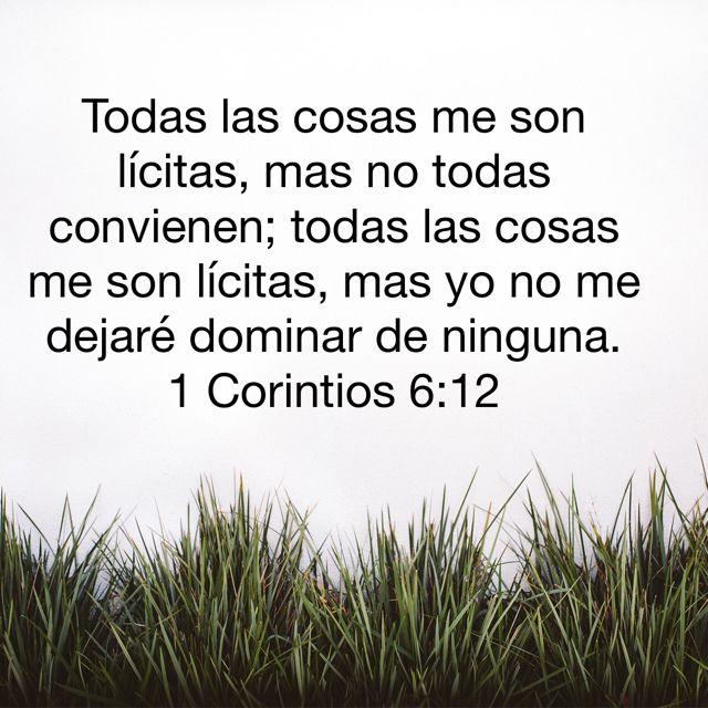 1 Corintios 6:12 Todas las cosas me son lícitas, mas no todas convienen; todas las cosas me son lícitas, mas yo no me dejaré dominar de ninguna.♔