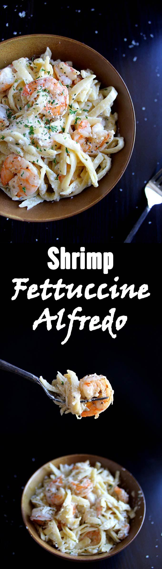 Garlic Shrimp Fettuccine Alfredo | Shrimp Pasta | Garlic Alfredo | Homemade Alfredo Sauce | Easy Dinner
