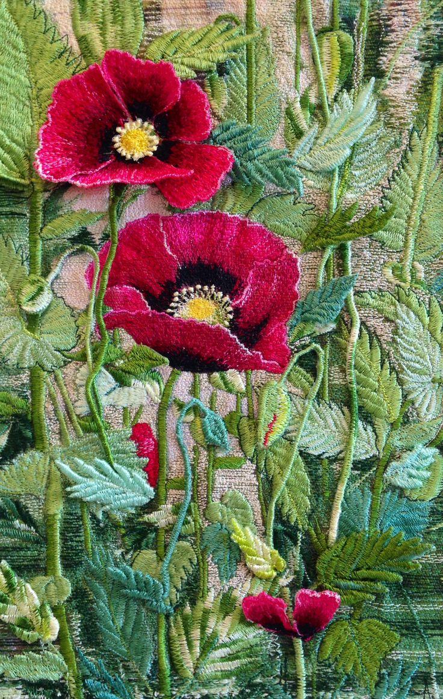 http://www.threadpainting.co.uk/Poppies in MY Garden.html via Willemijn Derks. Beautifully done.