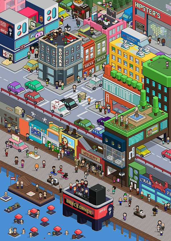 Pixel Art City on Behance